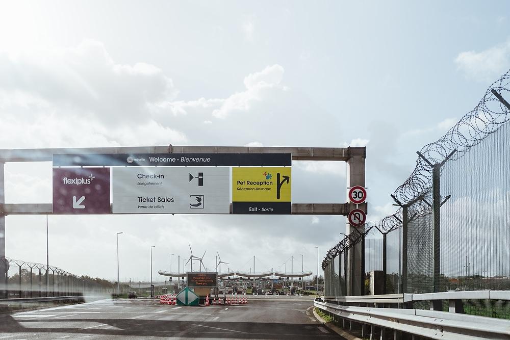 Ausfahrt zur pet receiption am Eurotunnel